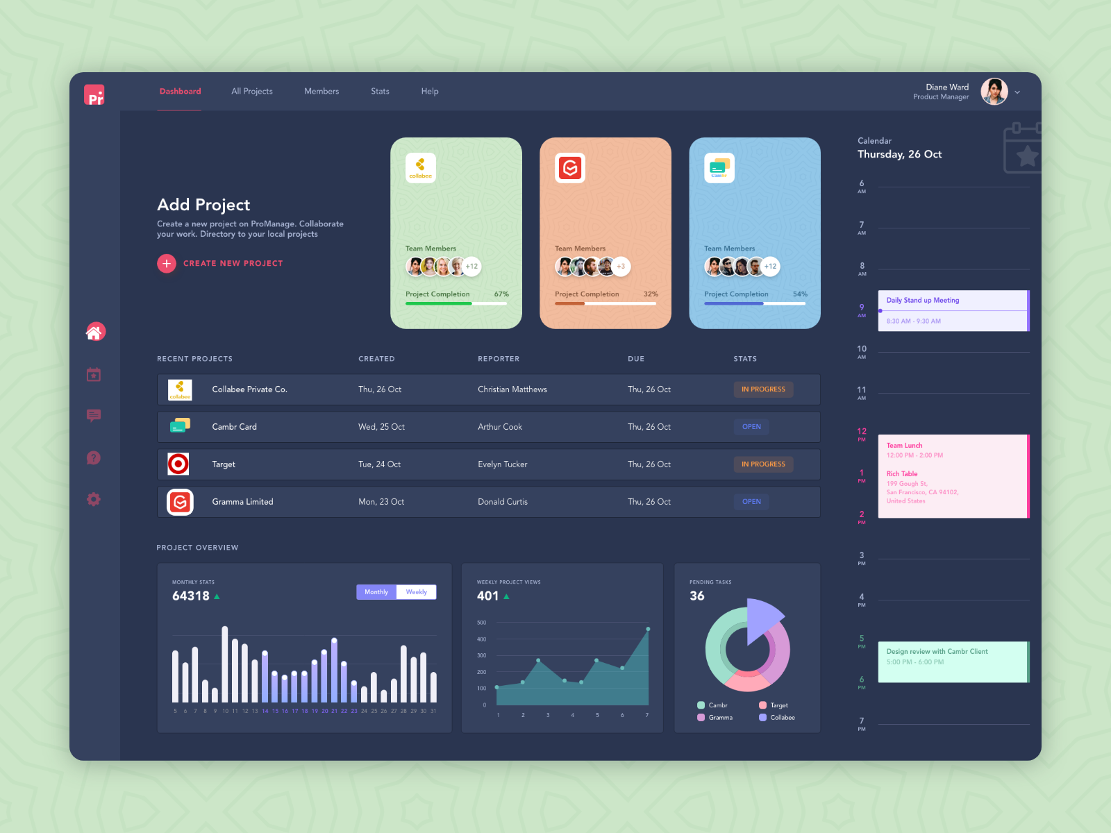 ProManage Dashboard .xd素材下载