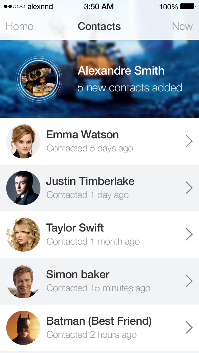 iOS7 Contacts ap