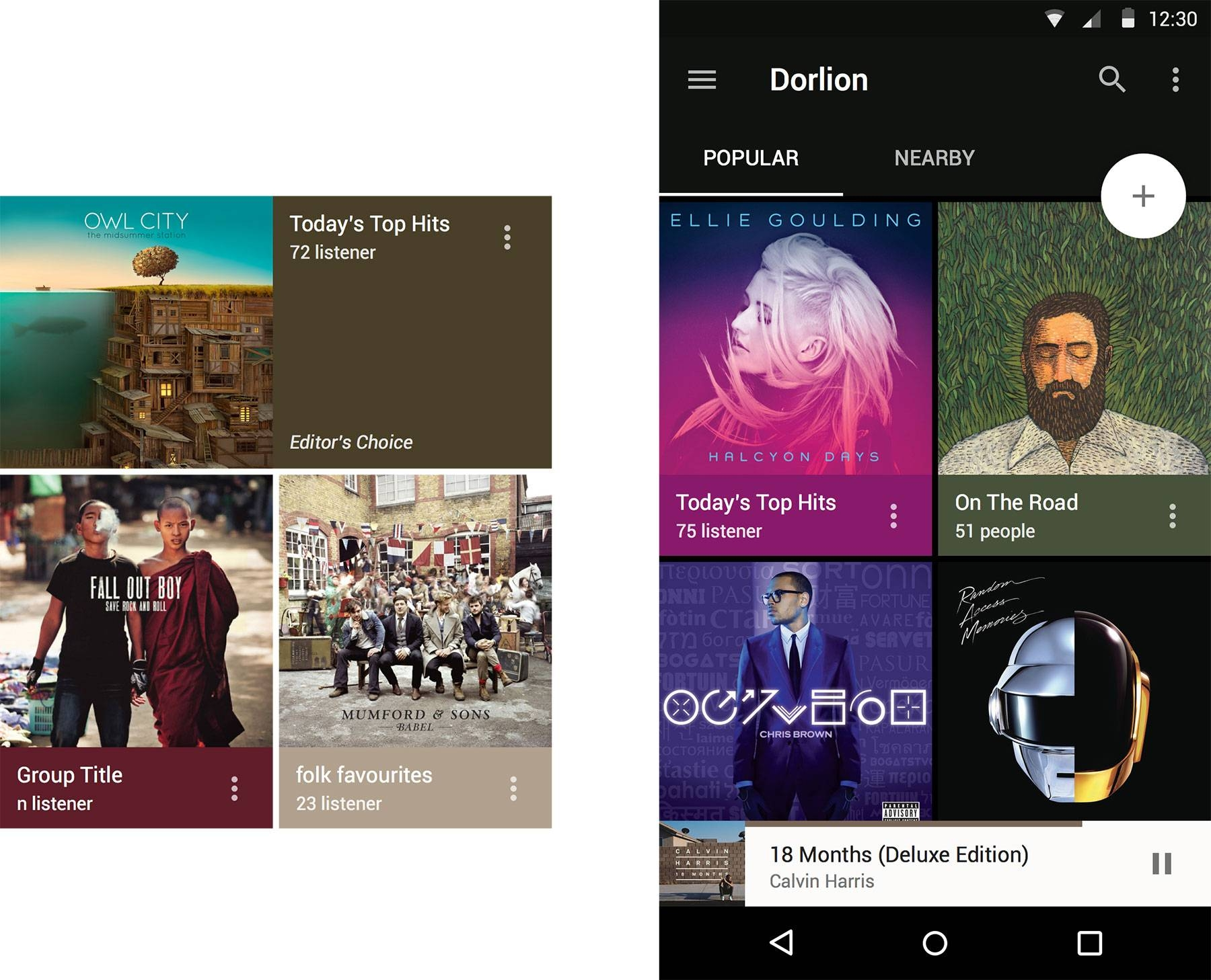 Material Design Music Feed